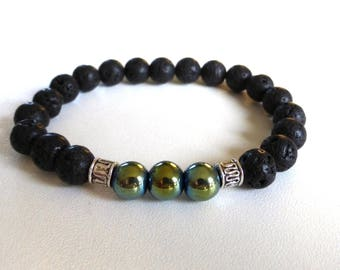 lava stone and hematite - mens jewelry mens bracelet