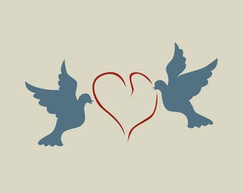 Heart and doves in adhesive vinyl stencil. (ref 206)