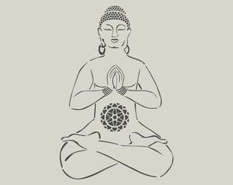 Buddha stencil. Drawing of Buddha (ref 475)