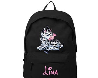 bag has black zebra personalized with name