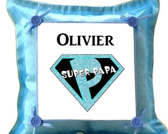Blue cushion Superpapa personalized with name