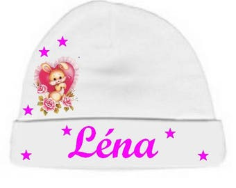 Little white rabbit and heart personalized with name baby bonnet
