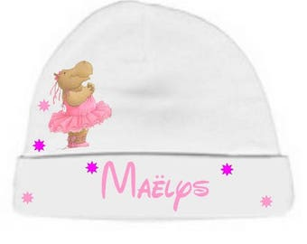 Personalized with name White dancer Rhino baby bonnet
