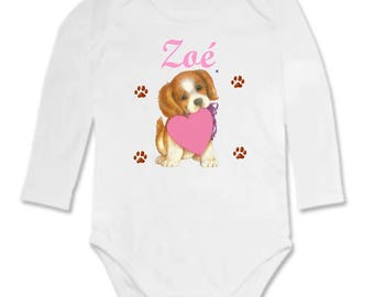 Bodysuit baby puppy and heart personalized with name