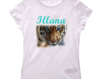 Personalized with name Tiger girl t-shirt