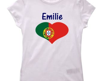 Girl personalized with name Portugal t-shirt