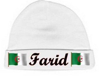 Personalized with name white flag because baby bonnet