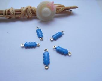 blue x 5 enamelled connectors