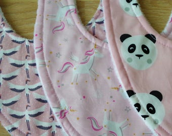 Set of 3 bibs, bibs, girl, panda, Unicorn, Stork, pink, cotton, baby