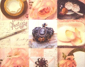 Napkin cameo - romantic - pink