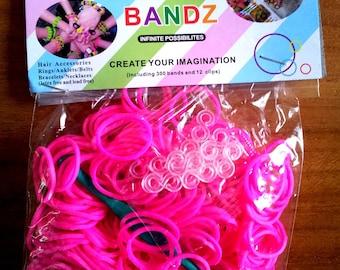 300 - 12 clasps - 1 neon pink elastic crochet