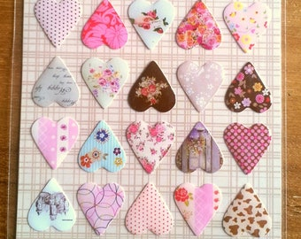 Sheet of 40 stickers 3D - different patterns - T 15 hearts