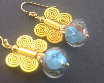 Floral glass beads and Golden butterflies
