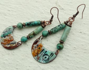 Ethnic swings - earrings in copper and African turquoise enameled