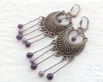 Earrings prints and declination Amethyst drops