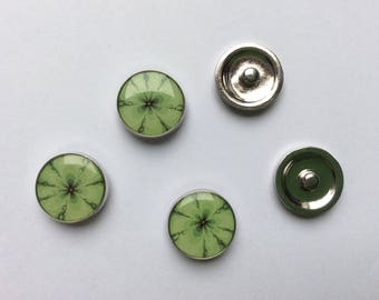 Set of 5 snap bracelet or necklace green snap buttons