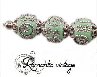 3 acrylic and antique silver metal beads Indonesian style, 15mm approx.