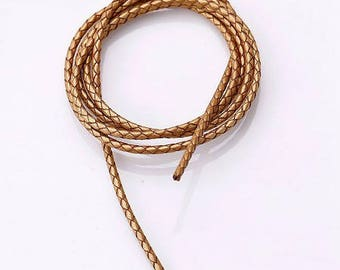 leather cord 1 m braided shiny gold color 3mm