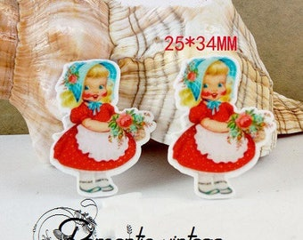 2 pretty embellishments, cabochons flat vintage style resin 34 * 25mm