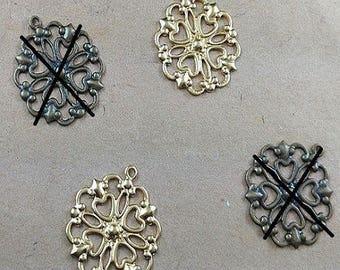 pretty 5 prints filigree pendants gold 16 * 18mm