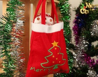 "30 * 20cm: clutch/shoulder spirit ""merry christmas"" Christmas bag Christmas tree"