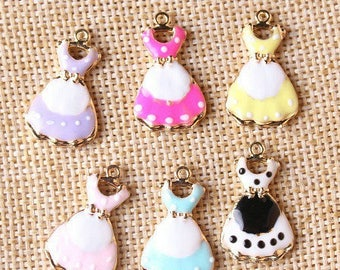 2 charms mini dresses old enamel and metal gold 24 * 14mm