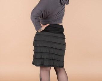 Hand made mesh ruffles short skirt
