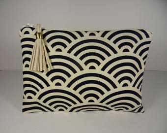 Fabric makeup pouch Japanese geometric waves dark blue.