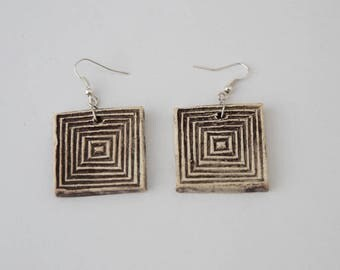 Dark Burgundy color square ceramic earrings
