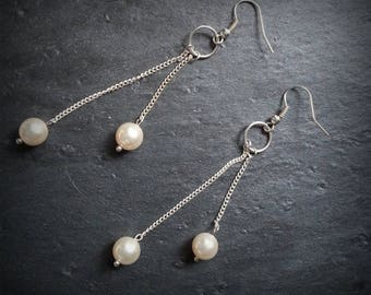 dangling silver chains and Pearl Earrings