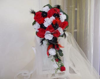 bridal bouquets black red and white