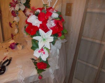 Red and white love bridal bouquets