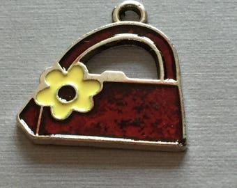 red flower enamel purse yellow