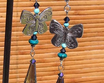 "Pendants for baptises ""Miss Butterfly"" Vintage style pierced"