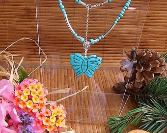 """""""Ithaca"""" American Turquoise Native American style Choker"""