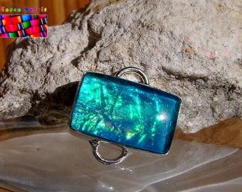 Glass silver plated connector dichroic Opalescent-Turquoise-2 cm - #14 Green