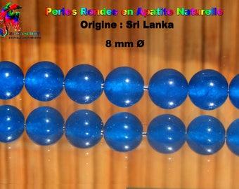 6 beads round 8 mm natural blue apatite - Sri Lanka - Grade A