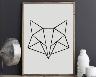 """Geometric Fox 2"" stickers"