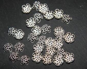 x 20 caps 10mm silver filigree bead caps