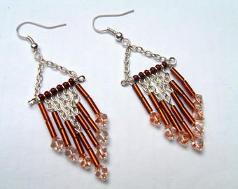 Brown and silver chandelier earrings