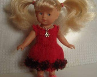 Red ruffles and doll dress mini corolline, 20 cm doll.