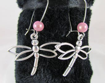 Pink magic beads and Dragonfly earrings