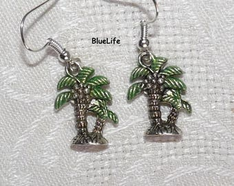 Palm tree earrings exotic jewelry etsy for girl child woman sterling silver posts