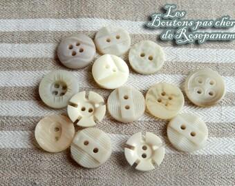 13 buttons vintage Ecru cream beige - 1.4 to 1.5 cm diameter - set buttons not cheap