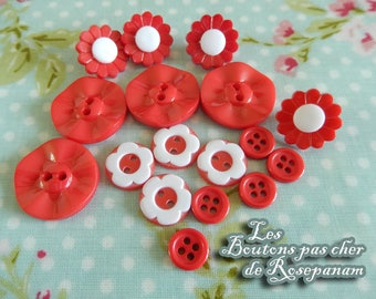 17 buttons flower red and white diameter 0.9 to 2 cm - couture - embelissement - jackets dresses little girls