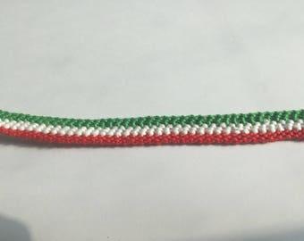 Red White Green Friendship Bracelet