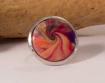 ring round multicolor polymer clay swirl cabochon set