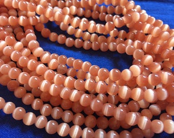 1 thread beads/row of shimmering beads cat eye, 66 6mm beads, clear orange beads, round beads, glass beads, small