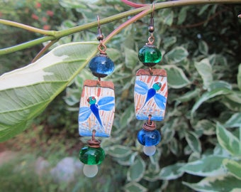 Enameled copper dangle earrings and glass filled, blue, green and white Dragonfly theme