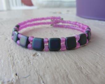 boho bracelet rigid, Bangle, purple and seed beads miyuki tila square glass beads in pink, purple, feminine and colorful bracelet